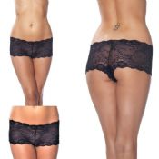 'Amorable' by Rimba Lingerie Sexy Black Stretch Lace Hotpants Boyshorts (R1325)